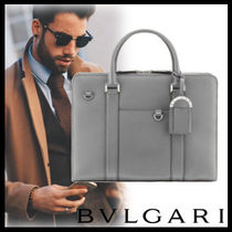 Bvlgari A4 2WAY Plain Leather Business & Briefcases