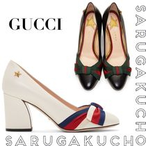 GUCCI Round Toe Leather Chunky Heels High Heel Pumps & Mules
