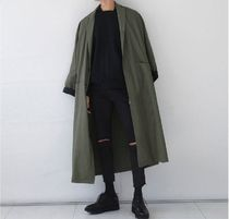 Street Style Plain Long Oversized Khaki Chester Coats