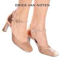 Dries Van Noten Round Toe Plain Leather High Heel Pumps & Mules
