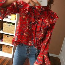 Flower Patterns Casual Style Puffed Sleeves Cotton Medium