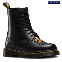 Dr Martens Heart Leopard Patterns Platform Plain Toe Leather Flat Boots