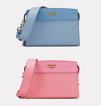 PRADA Calf Leather Esplande Shoulder Bag(Astrale Blue/Petalo Pink)