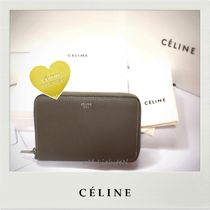 CELINE Unisex Street Style Plain Leather Folding Wallets