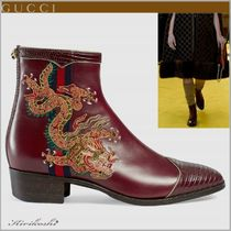 GUCCI Round Toe Other Animal Patterns Leather Elegant Style
