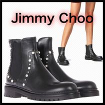 Jimmy Choo Casual Style Studded Plain Leather Flat Boots