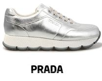 PRADA Platform Casual Style Plain Leather Lace-Up Shoes