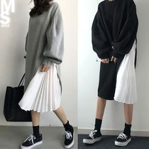 NANING9 Casual Style Puffed Sleeves Street Style U-Neck Plain Long
