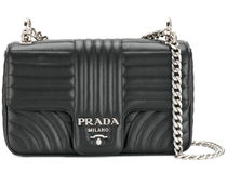 PRADA Black Calf Leather Medium Diagramme Flap Shoulder Bag