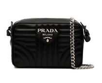 PRADA DIAGRAMME Black Calf Leather Small Diagramme Shoulder Bag
