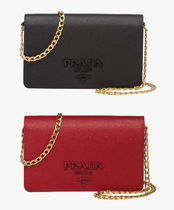 PRADA Saffiano Leather Chain Shoulder Bag (Black/Red)