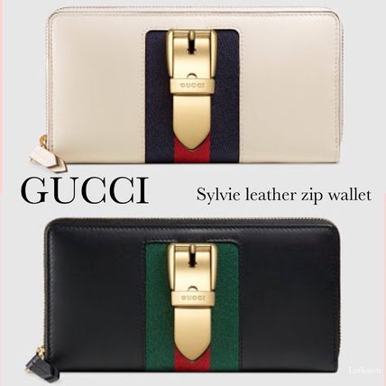 ed65b6f2a8e4d8 GUCCI Sylvie 2018 Cruise Stripes Leather Long Wallets (476083 CWLSG ...