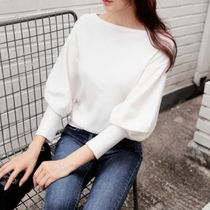 Puffed Sleeves Boat Neck Plain Medium Office Style Sweaters