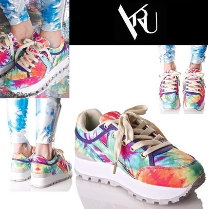 Platform Round Toe Lace-up Casual Style Street Style Tie-dye