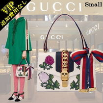 GUCCI Sylvie Flower Patterns 2WAY Leather Elegant Style Handbags