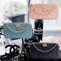 CHANEL Calfskin Plain Party Style Clutches