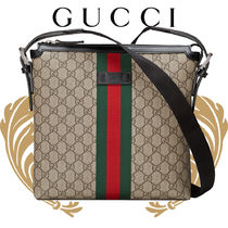 GUCCI Stripes Monogram Unisex Canvas Blended Fabrics Street Style