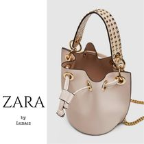 ZARA Studded 2WAY Chain Plain Elegant Style Shoulder Bags