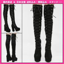 DOLLS KILL Round Toe Plain Block Heels Over-the-Knee Boots