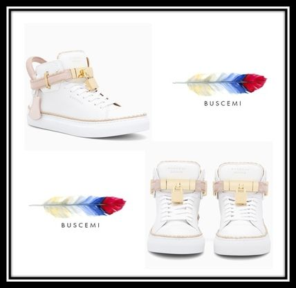 BUSCEMI Low-Top Plain Toe Rubber Sole Casual Style Street Style Plain