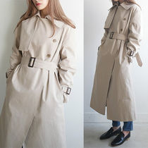 DAILYMONDAY Stand Collar Coats Plain Long Oversized Elegant Style