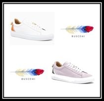 BUSCEMI Plain Toe Rubber Sole Casual Style Suede Blended Fabrics
