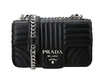 PRADA DIAGRAMME Black Calf Leather Medium Diagramme Flap Shoulder Bag