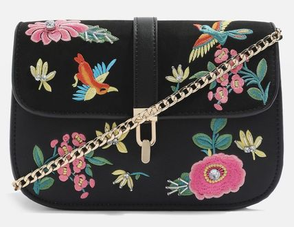 Flower Patterns Casual Style Chain Shoulder Bags