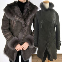 Fur Plain Fur Leather Jackets Elegant Style Coats
