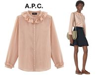 A.P.C. Stripes Silk Long Sleeves Elegant Style Shirts & Blouses