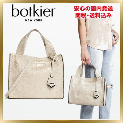 2WAY Plain Other Animal Patterns Leather Elegant Style Totes