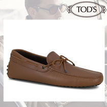 TOD'S Driving Shoes Street Style Plain Leather Loafers & Slip-ons