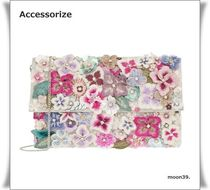 Accessorize Flower Patterns Blended Fabrics 2WAY Chain With Jewels