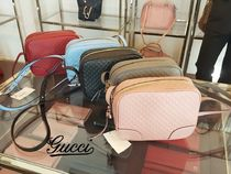 GUCCI Casual Style Plain Leather Shoulder Bags