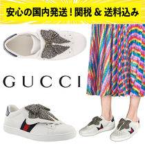 GUCCI Stripes Leather Elegant Style Low-Top Sneakers