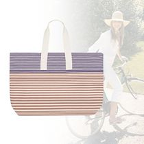 HERMES Stripes Casual Style Cambus Totes