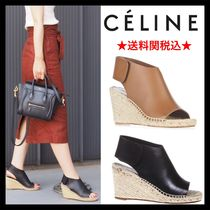 CELINE Open Toe Leather Platform & Wedge Sandals