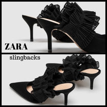 ZARA Leather Party Style Heeled Sandals