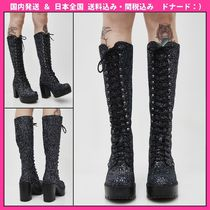 DOLLS KILL Round Toe Lace-up Faux Fur Plain Chunky Heels Lace-up Boots