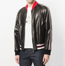 GUCCI Short Stripes Street Style Plain Leather Special Edition