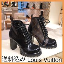 Louis Vuitton MONOGRAM Monogram Plain Leather High Heel Boots