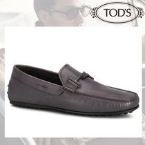 TOD'S Loafers Blended Fabrics Plain Leather U Tips