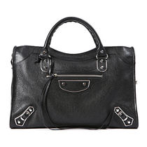 BALENCIAGA CITY Unisex Lambskin Studded A4 2WAY Plain Totes
