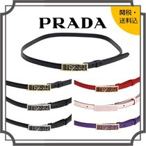 PRADA Blended Fabrics Plain Leather Office Style Bold Belts