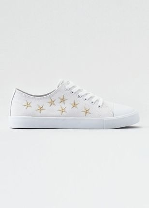 Star Round Toe Rubber Sole Casual Style Unisex Street Style