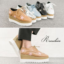Star Square Toe Platform Lace-up Casual Style