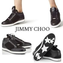 Jimmy Choo Star Round Toe Rubber Sole Casual Style Leather