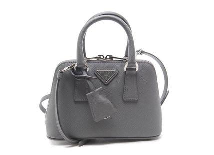 Grey Saffiano/Calf Leather Micro Galleria Handbag