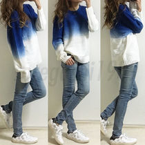 Unisex Bi-color Long Sleeves Plain Oversized Sweaters
