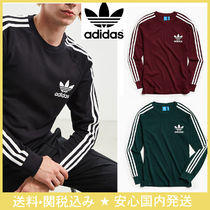 adidas Crew Neck Pullovers Stripes Long Sleeves Cotton